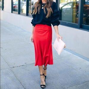 Forever 21 Red Orange Satin Slip Midi Skirt
